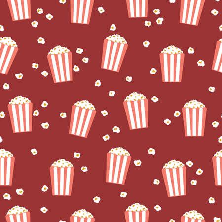 Popcorn. Seamless vector pattern in flat style