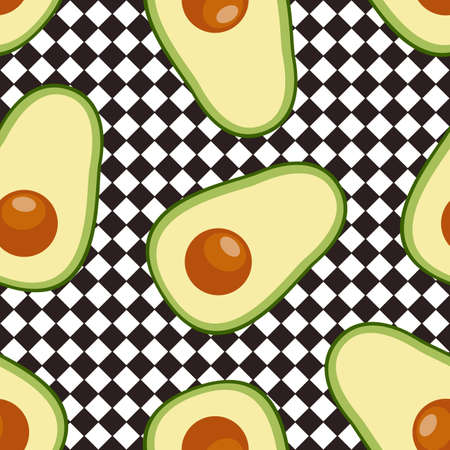 Avocado. Seamless vector pattern. Food background Ilustração