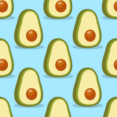 Avocado. Seamless vector pattern in cartoon style