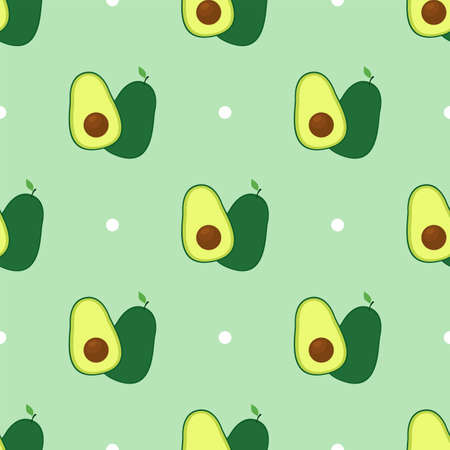 Avocado. Seamless vector pattern with dots