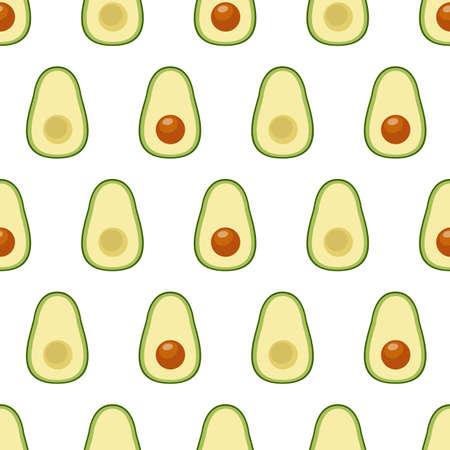 Avocado. Seamless vector pattern on white background