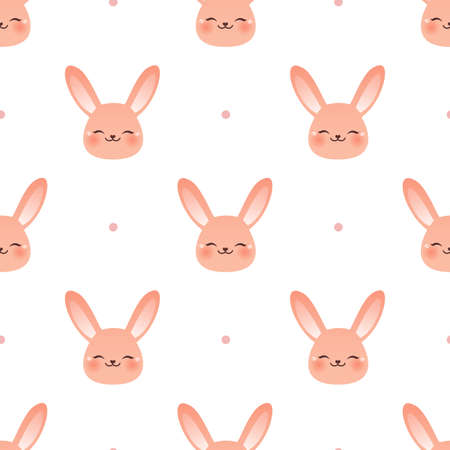 Happy rabbit. Seamless vector illustration with dots