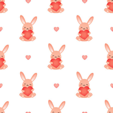 Happy rabbit. Seamless vector illustration with hearts