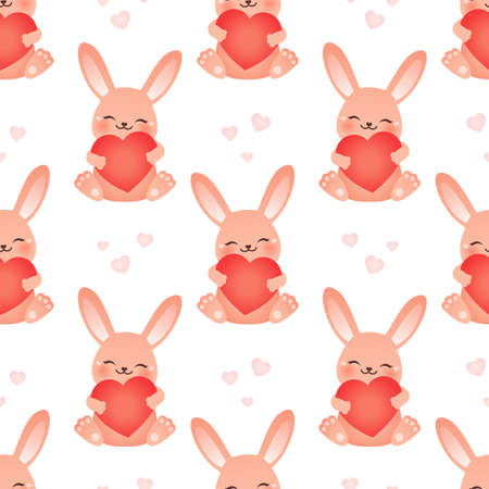 Happy bunny. Seamless vector illustration with hearts Ilustração