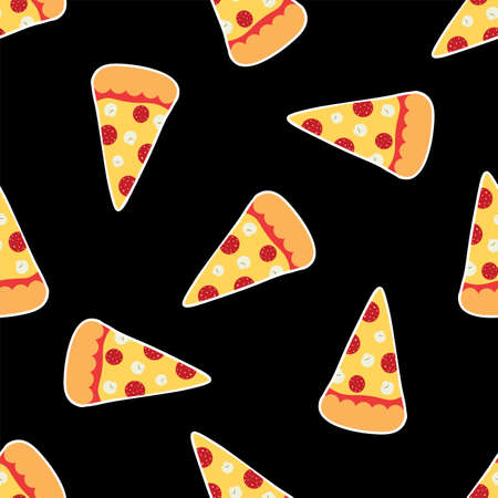 Cartoon pizza slice on black background. Seamless vector pattern