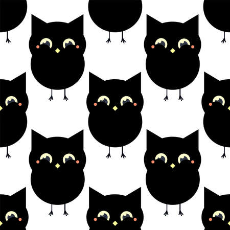 Cute black owl. Seamless vector pattern in flat style