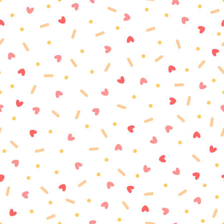 Confetti with hearts. Seamless vector pattern on white background