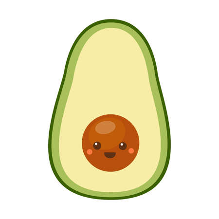 Cute little avocado with happy face. Vector illustration