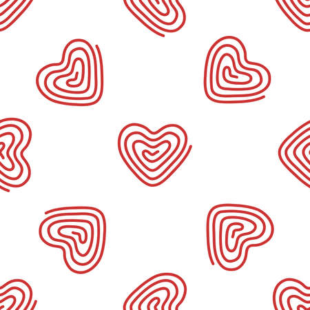 Doodle red heart. Seamless vector pattern on white background