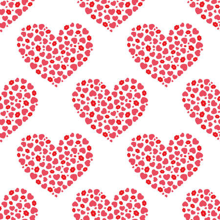 Heart of hearts and lips. Seamless vector pattern Ilustrace