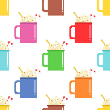 Colorful cups of hot drink with whipped cream and candy stick. Seamless vector pattern