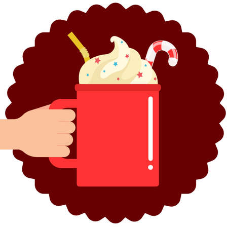 Red cup of hot drink with whipped cream. Vector illustration Ilustrace
