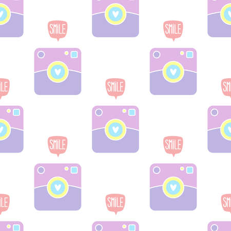 Polaroid camera. Seamless vector pattern on white background Ilustrace