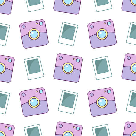 Polaroid camera. Seamless vector pattern on white background Illustration