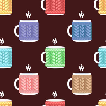 Cup in knitted cozy sweater. Seamless vector pattern