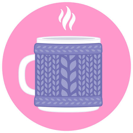 Cup in knitted cozy sweater. Vector illustration