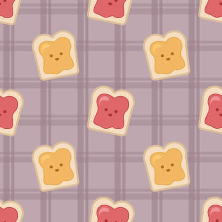 Slice of bread toast with honey and jam. Seamless vector pattern
