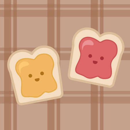 Slice of bread toast with honey and jam. Vector illustration