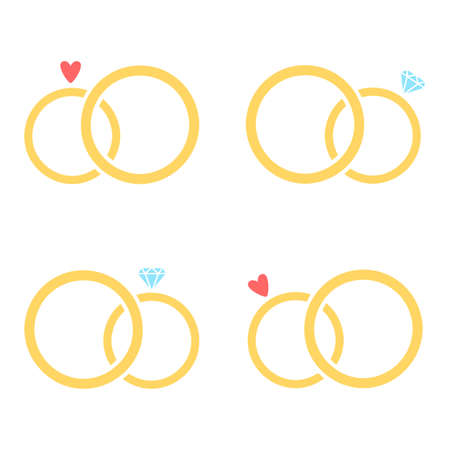 Wedding Rings Set. Vector collection