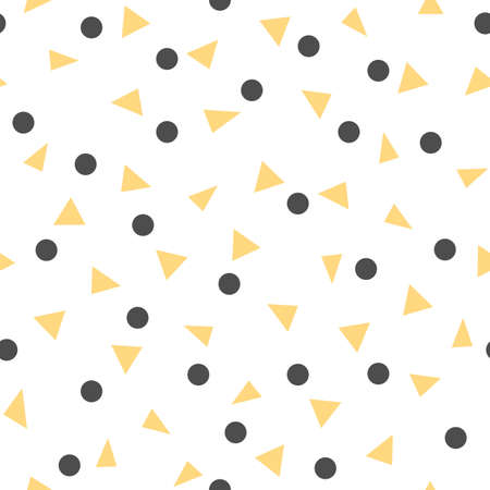 Abstract background with yellow triangle and black dot. Seamless pattern Ilustrace