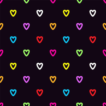Colorful doodle hearts on black background. Seamless vector pattern