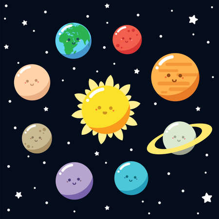 Set of cute solar system. Cartoon vector illustration.