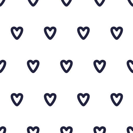 Pattern with black doodle hearts. Seamless vector pattern