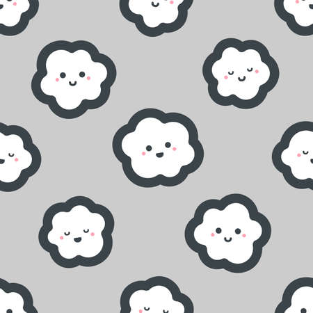 Cute cartoon clouds with happy smile. Seamless vector pattern 스톡 콘텐츠 - 121360774