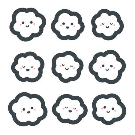 Cute cartoon clouds set. Vector illustration on white background Ilustrace