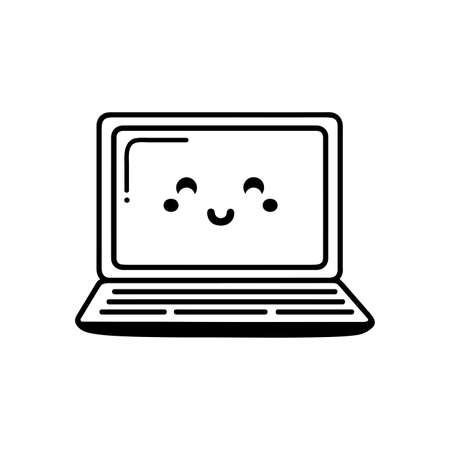 Cute laptop. Vector icon isolated on white background