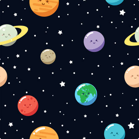 Cute planets. Seamless vector pattern. Cartoon style Illustration