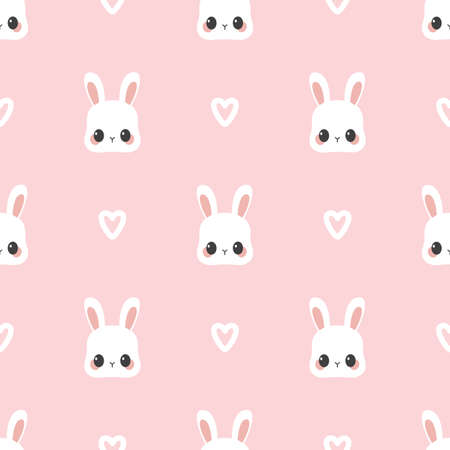 Cartoon vector pattern with cute rabbit and heart. Seamless background