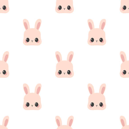 Cute rabbit. Cartoon vector pattern. Seamless background Ilustração