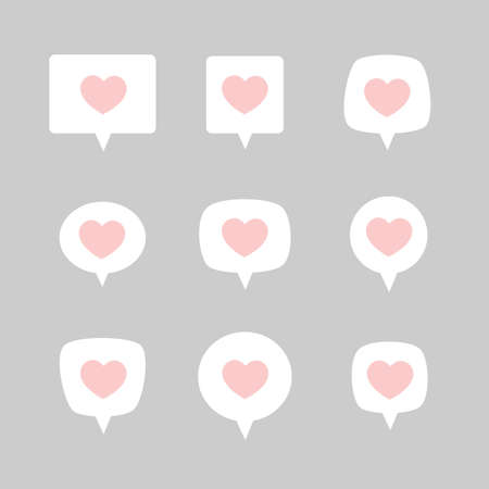 Like notification icons in flat style. Vector set