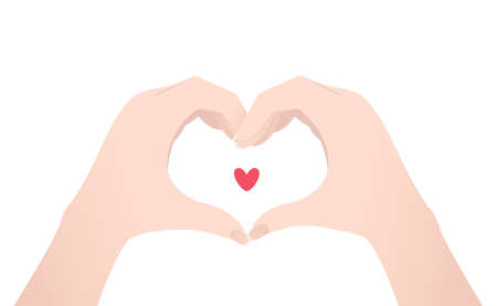 Two hands making heart sign. Vector illustration isolated on white background