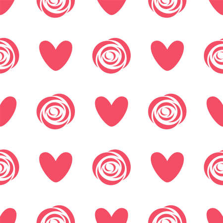 Pattern with rosebud and heart. Seamless vector pattern