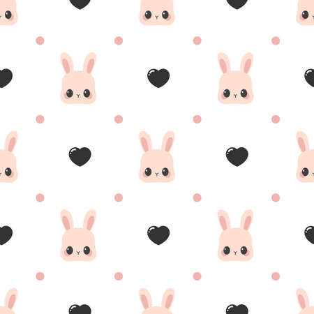 Cute rabbit face pattern with dots and hearts. Vector seamless background Ilustração