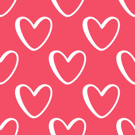 White doodle hearts. Seamless vector pattern on pink background