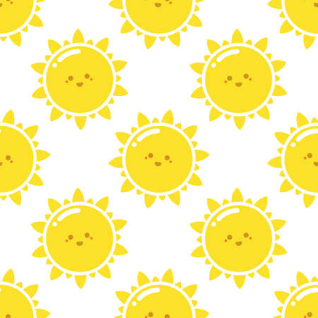 Seamless pattern with happy sun. Flat vector background