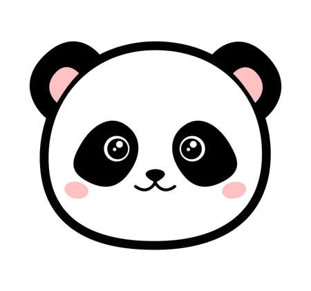 Cute panda. Vector illustration isolated on white background