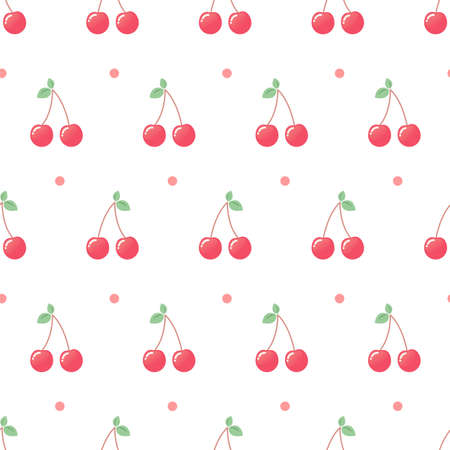 Pink cherry and dots. Seamless vector pattern on white background