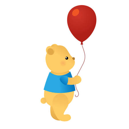 Cute cartoon bear holding red balloon. Vector illustration