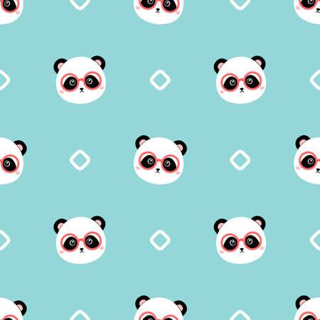 Cartoon panda with glasses. Seamless vector pattern