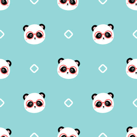 Cartoon panda with glasses. Seamless vector pattern