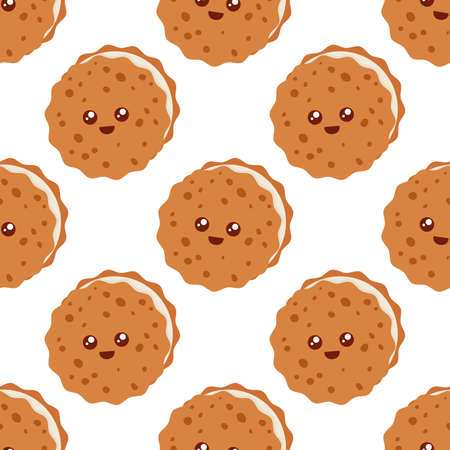 Cute happy cookies. Seamless vector pattern Illustration