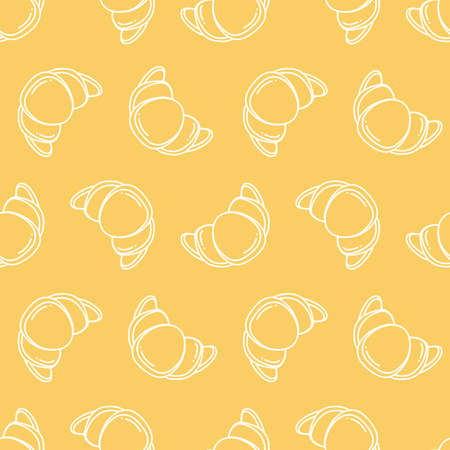 Croissant. Simple vector pattern on yellow background