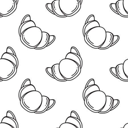 Croissant. Simple vector pattern on white background