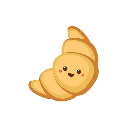 Croissant with cute face. Cartoon vector illustration