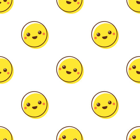 Cute yellow smile. Seamless vector pattern on white background
