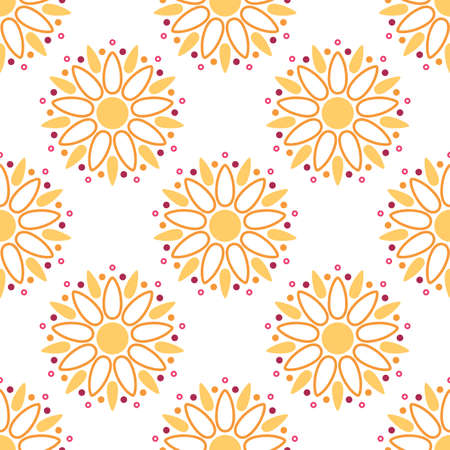 Floral pattern. Seamless vector background with abstract sunflower Illustration